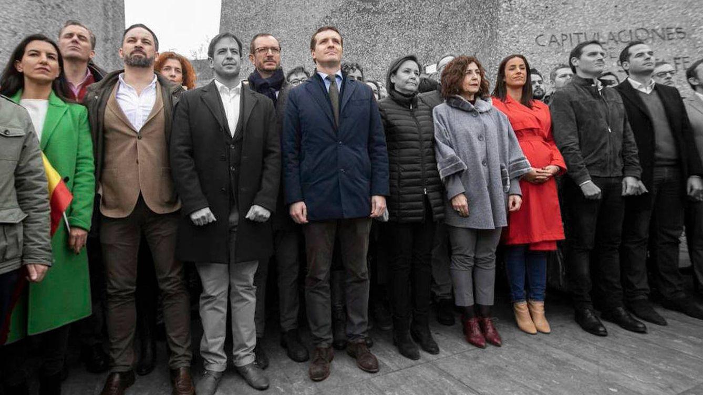 Foto: Los dirigentes presentes en la manifestación de Colón de 2019.
