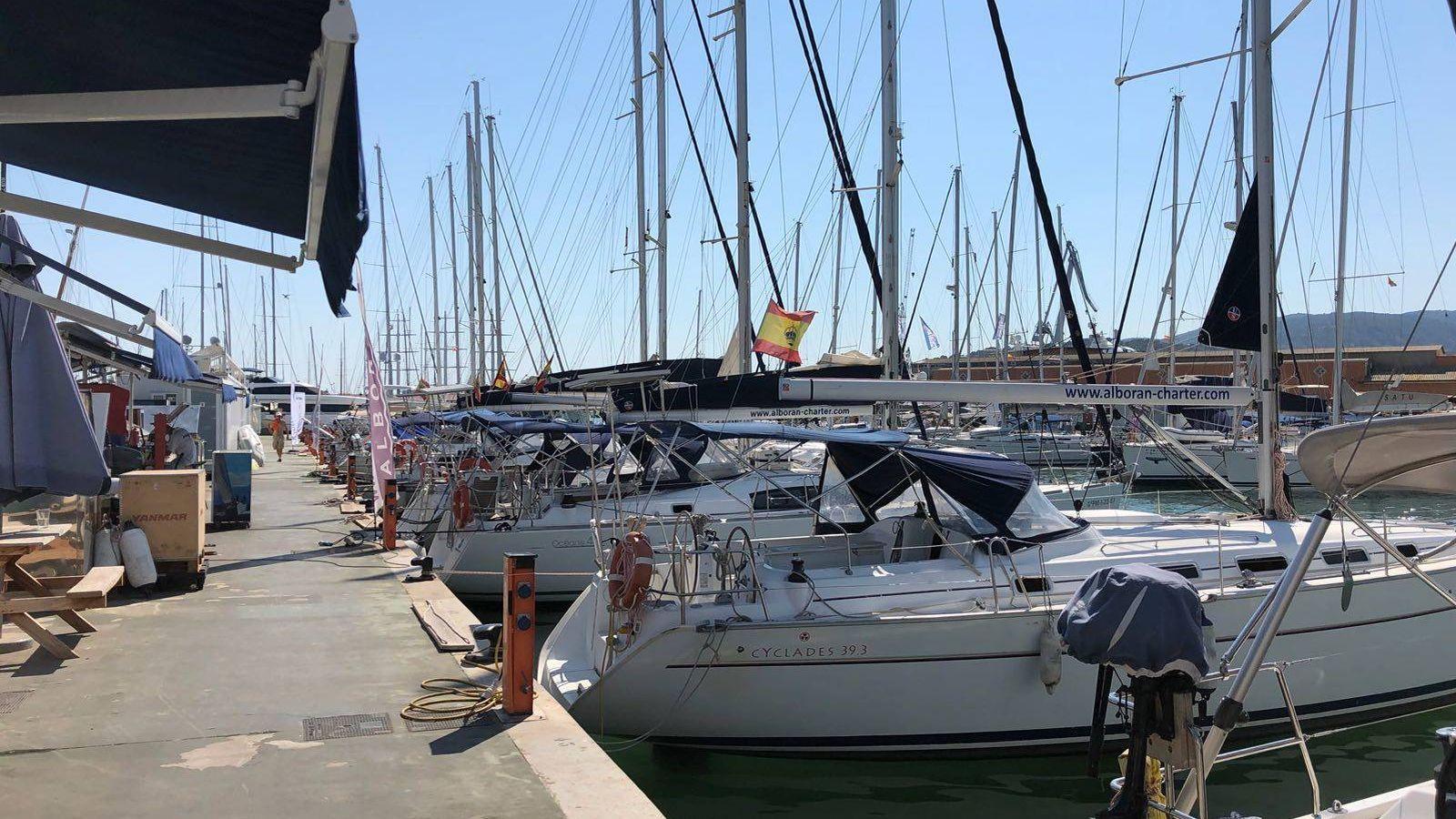 Foto: Imagen del puerto de chárter de Mallorca este mismo martes, con la mayoría de los barcos atracados. (Cedida por Fernando Garzón)