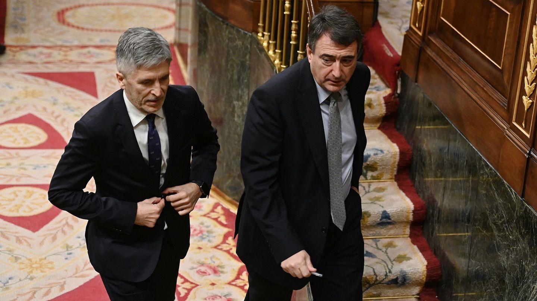 El ministro del Interior, Fernando Grande-Marlaska (i), y el portavoz del PNV, Aitor Esteban. (EFE)