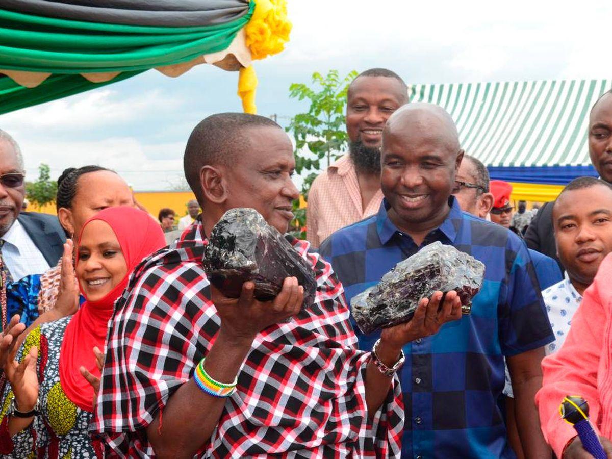 Foto: Saniniu Laizer, con las primeras dos rocas de tanzanita que encontró. (Ministerio de minerales de Tanzania)