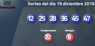 Post de Resultados del sorteo de la Bonoloto del 19 diciembre 2016: números 12, 25, 28, 36, 45, 47
