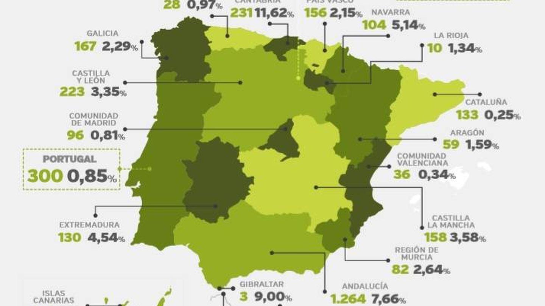 Red y cuota de mercado en la península Ibérica. (Coviran)