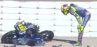 Post de Márquez 'entrena' otra salvada y Rossi protagoniza el primer susto de 2018