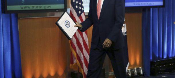 Foto: El secretario de Estado de EEUU, John Kerry, antes de su comparecencia de hoy (Reuters).