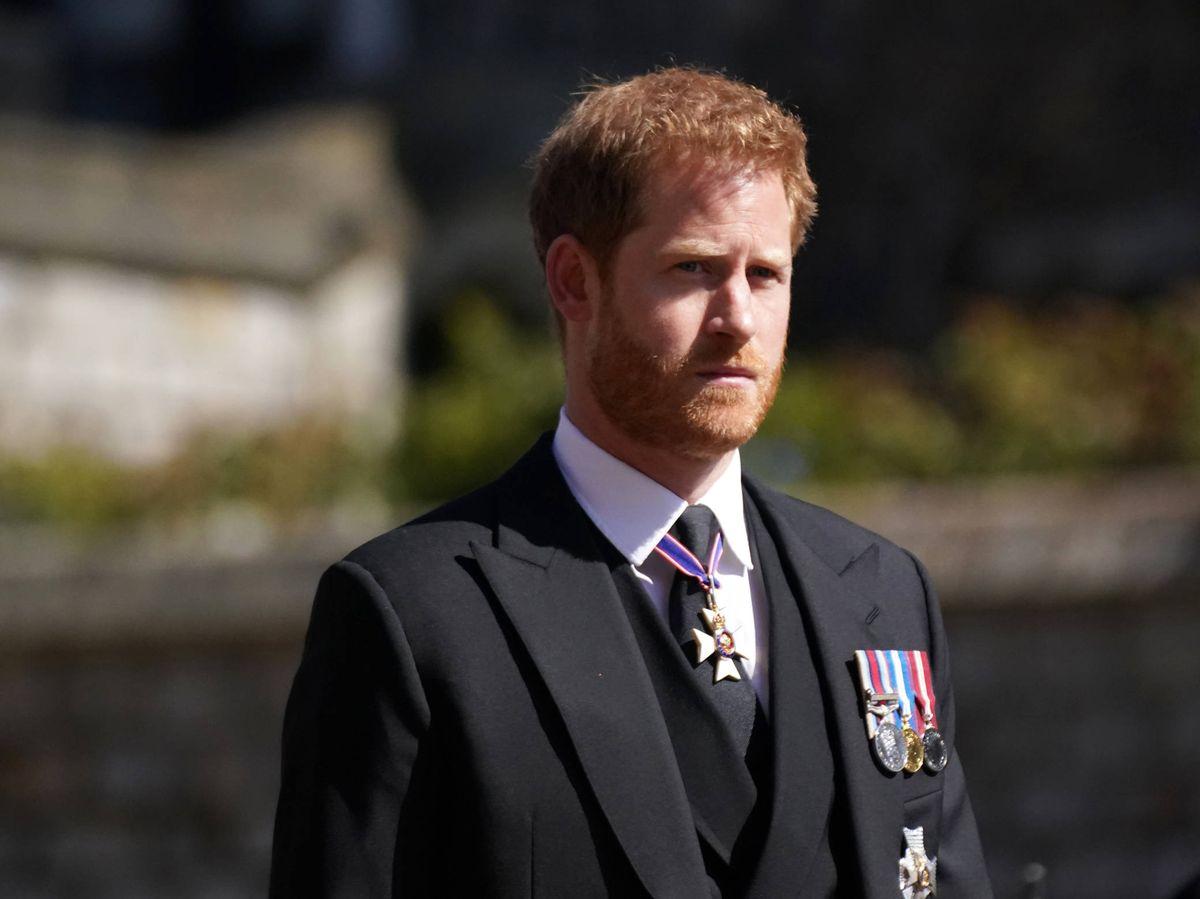 Foto: El príncipe Harry, en el funeral de su abuelo. (Getty)