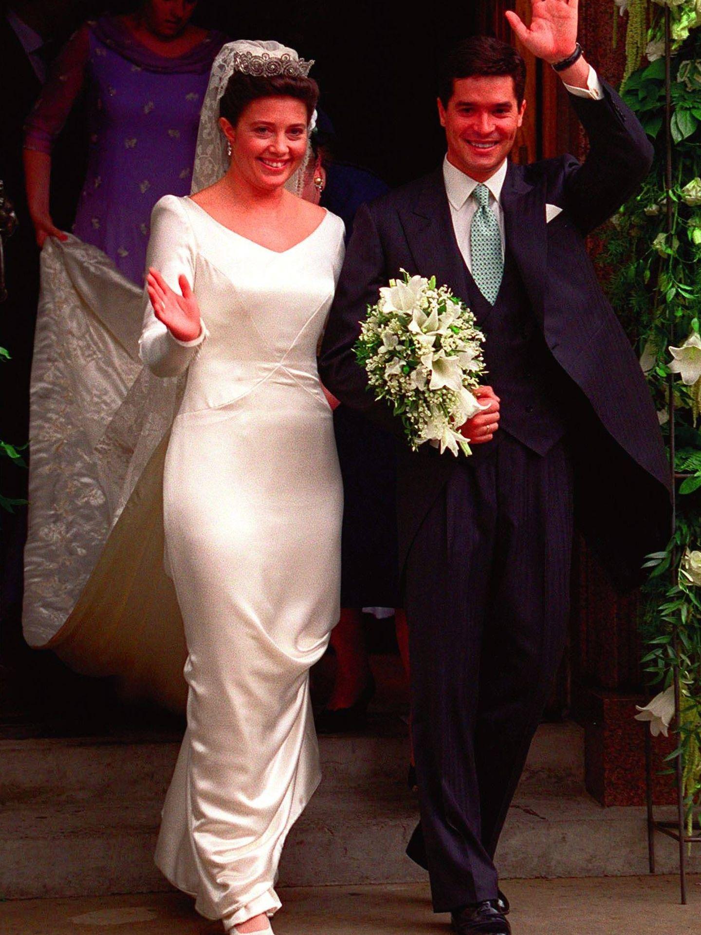 Alexia y Carlos, en su boda en 1999. (Gtres)