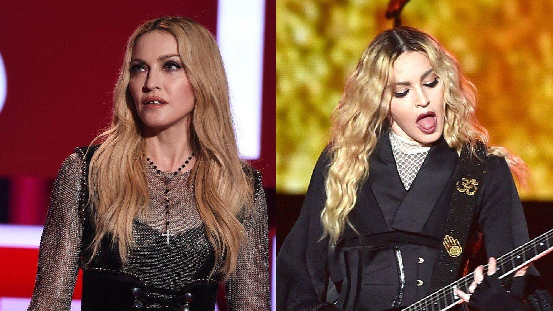 Madonna, con el pelo alisado y con sus rizos naturales algo más definidos con ayuda de un moldeador. (Getty)