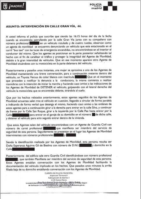 Parte del incidente (El País)