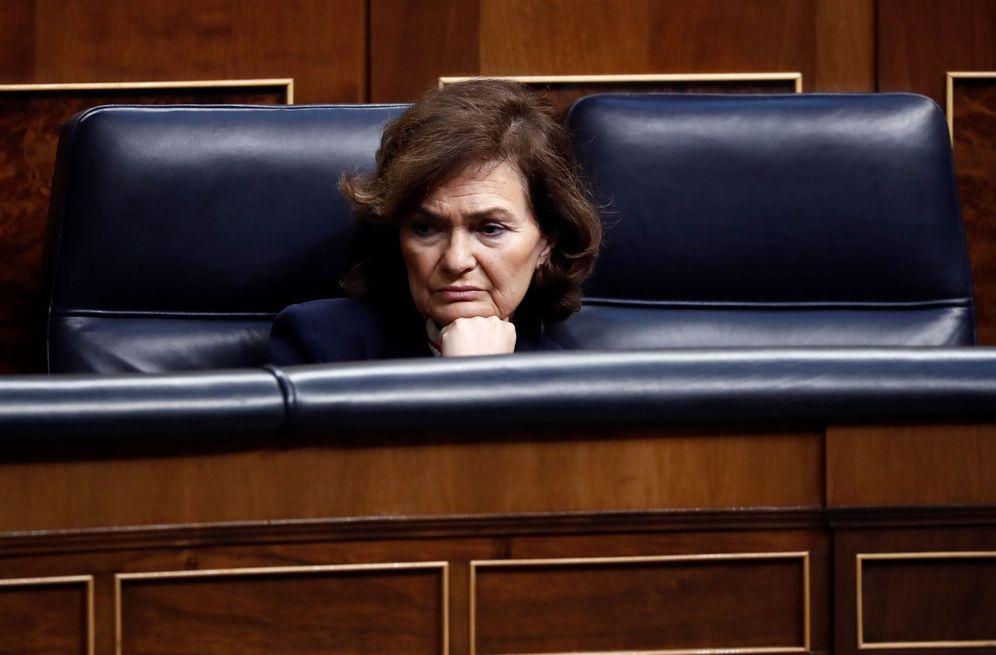 Foto: La vicepresidenta primera del Gobierno, Carmen Calvo, el pasado 18 de marzo en el Congreso. (EFE)