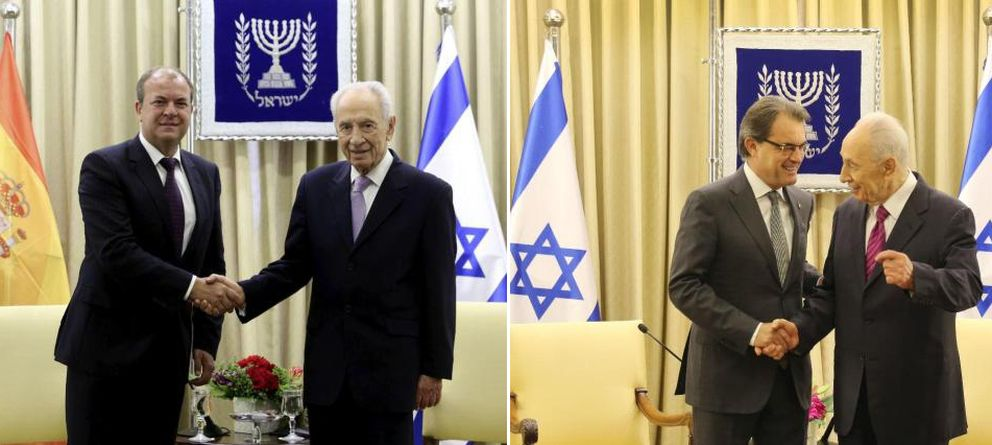 Israel cede ante Artur Mas y retira la bandera española en su cita con Shimon Peres