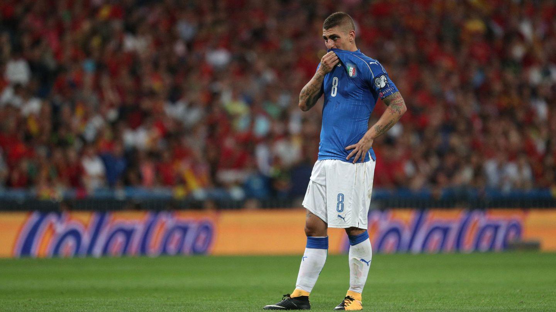 Marco Verratti se lamenta durante un partido de la selección italiana   Reuters