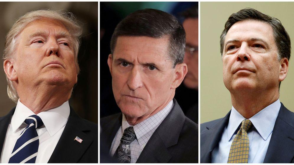 Foto: Donald Trump, el exasesor de seguridad nacional Michael Flynn y el exdirector del FBI James Comey. (Reuters)