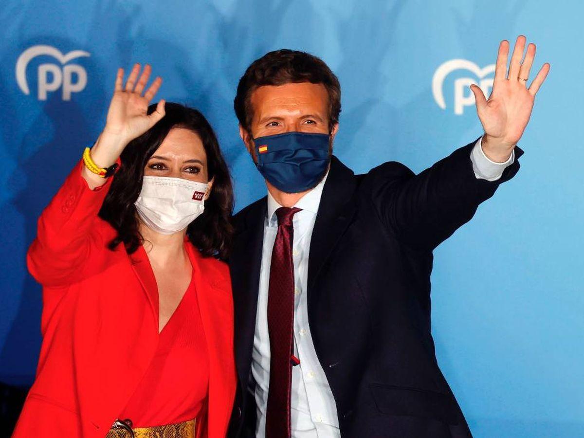 Foto:  Ayuso y Casado celebran el triunfo en las elecciones de la Comunidad de Madrid. (EFE)