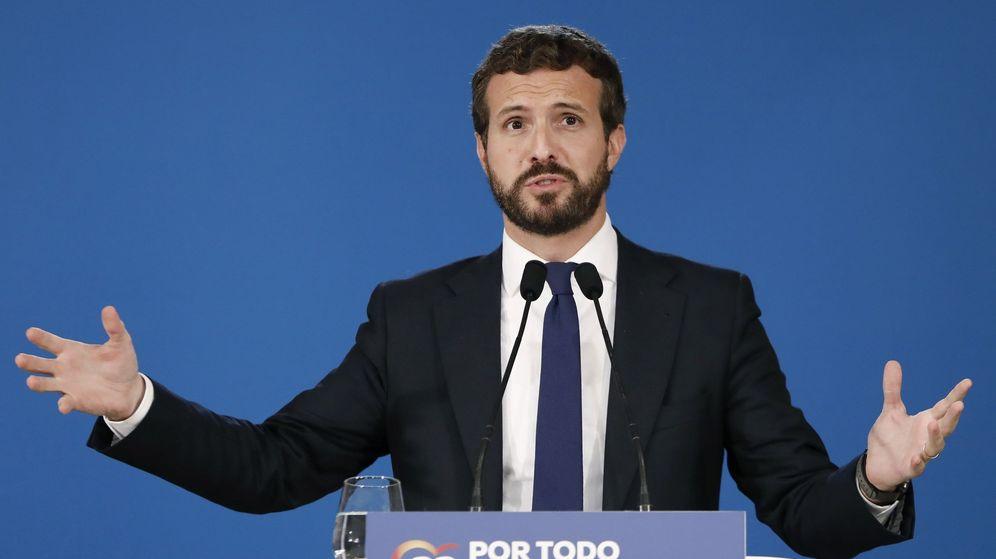 Foto: Pablo Casado, durante su discurso en la reunión de la junta directiva del PP de Cataluña. (EFE)