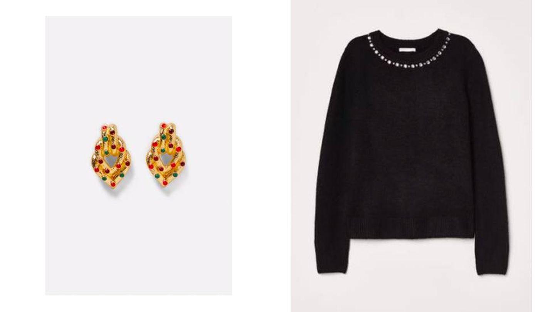 Maxipendientes dorados de Zara (39,95 €) y jersey negro de H&M (19,99 €).