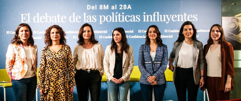 Foto: Isabel Morillo, María Jesús Montero, Edurne Uriarte, Irene Montero, Inés Arrimadas, Rocío Monasterio y Paloma Esteban, en el debate de las políticas influyentes. (Carmen Castellón)