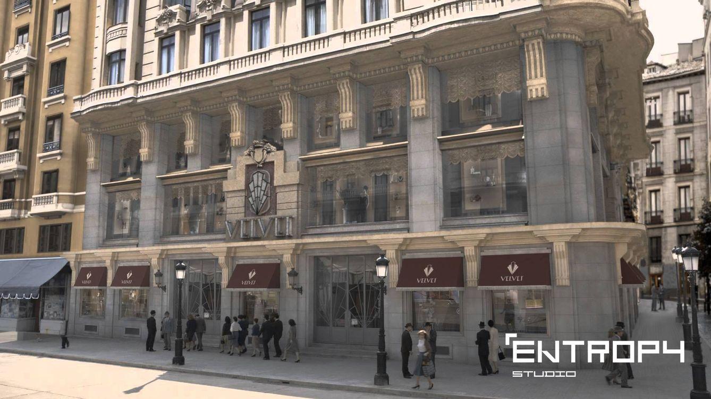 Foto: Recreación de la fachada de las Galerías Velvet en 3D