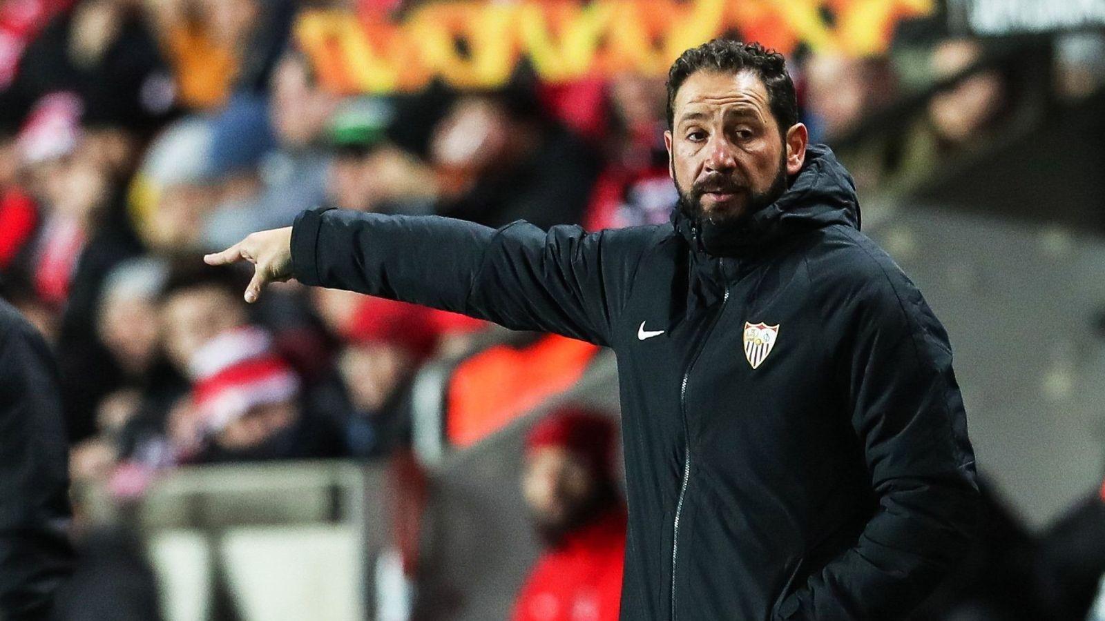 Foto: El Slavia Praga-Sevilla fue el último partido de Machín. (EFE)