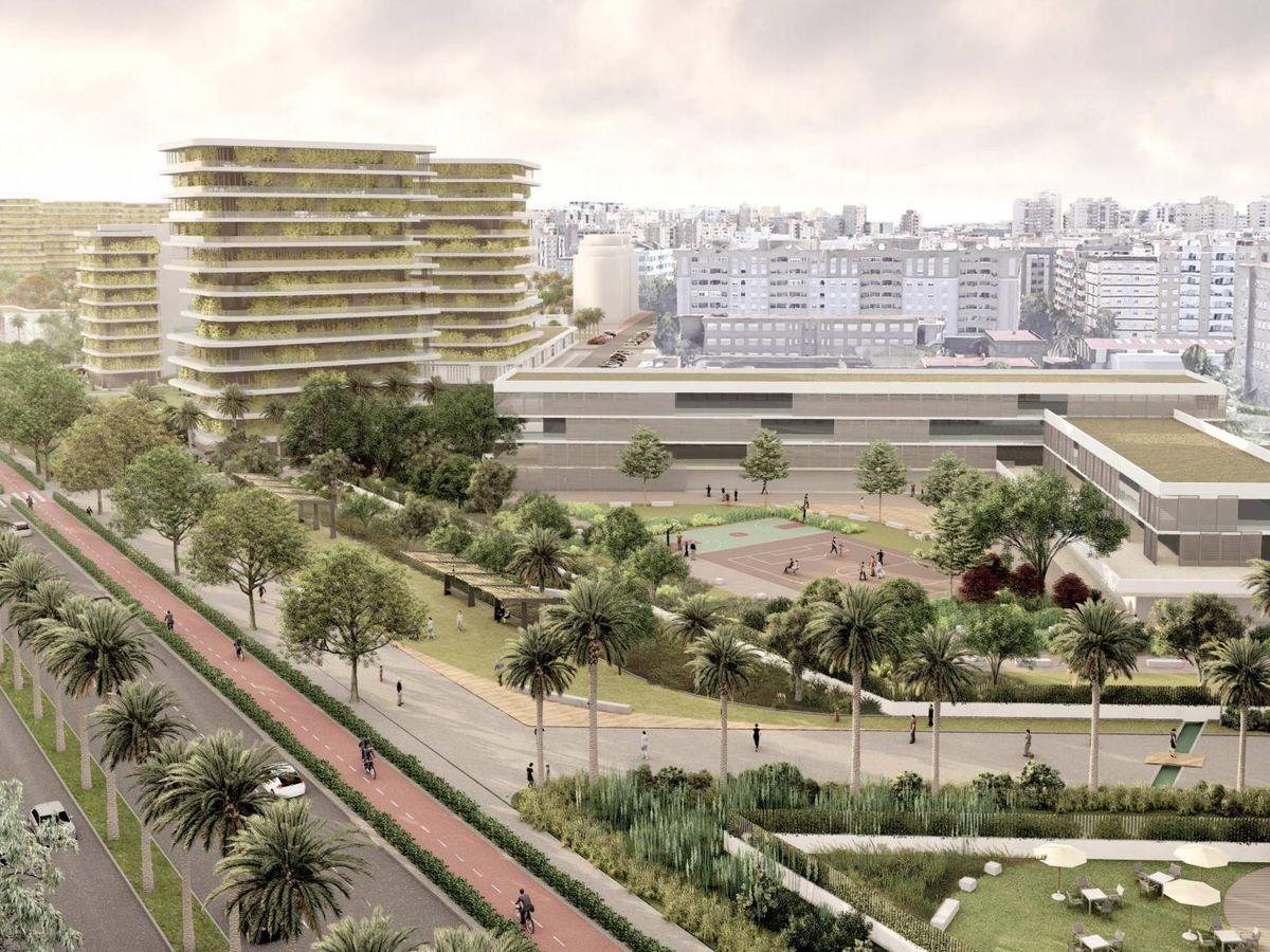Foto: Simulación del desarrollo del PAI de Benimaclet en Valencia, junto a la Ronda Norte.