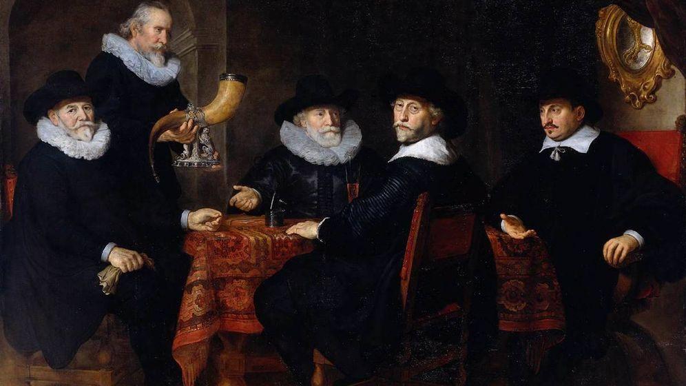 Foto: Albert Burgh, Jan Claesz. Vlooswijck, Pieter Reael y Jacob Willekens en una obra de Govert Flinck en 1642.