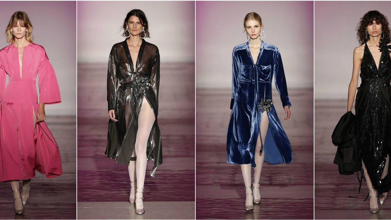 Vestidos en rosa Pompadour, lamé licuado, terciopelo azul cerúleo o lentejuelas. 'Cynthia' también se viste de noche. (Gtres)