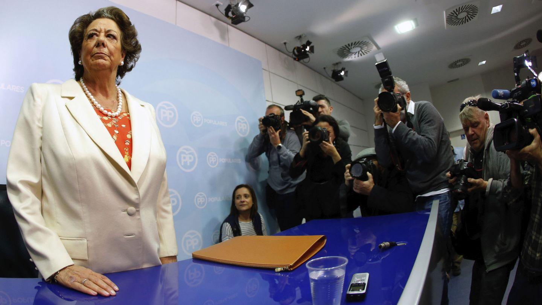 La senadora, Rita Barberá, en la primera comparecencia que hizo para negar su implicación en la trama de blanqueo de su grupo municipal. (EFE)