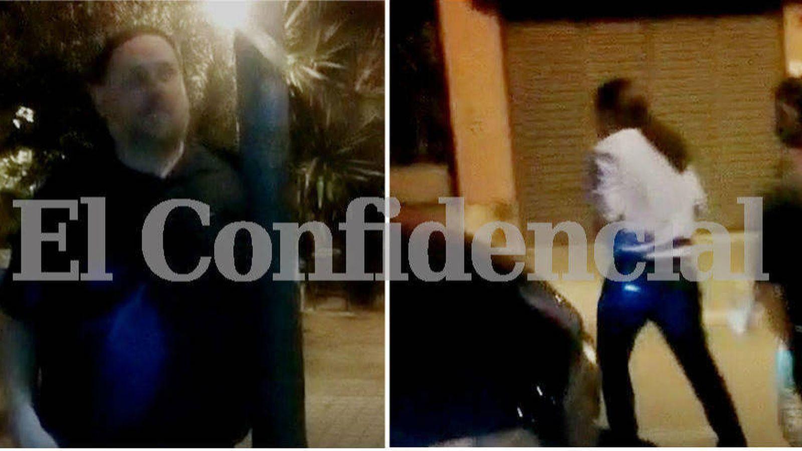 Foto: Oriol Junqueras y Pablo Iglesias llegando por separado a la casa de Jaume Roures en Barcelona. (El Confidencial)