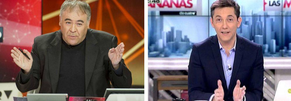 Foto: Antonio García Ferreras en 'Al Rojo Vivo' (i) y Javier Ruiz en 'Las mañanas de Cuatro'.
