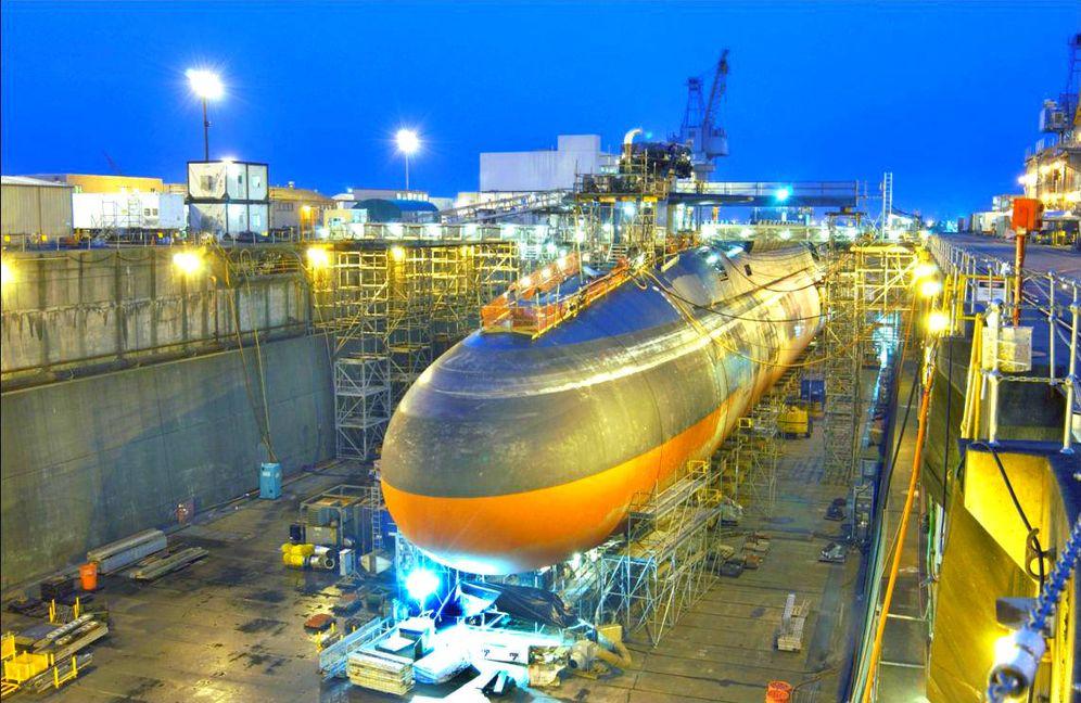 Foto: Renovación del USS Ohio, el predecesor del USS Columbia. (Wikimedia Commons)