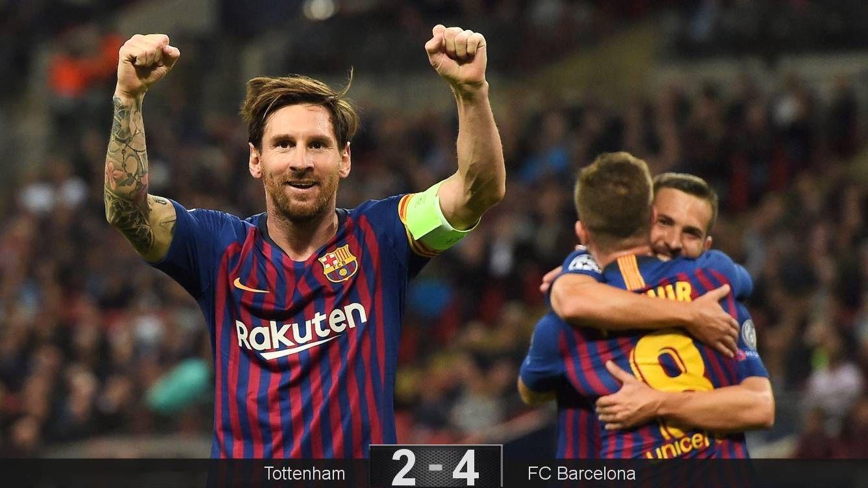 Foto: Messi celebra uno de sus dos goles al Tottenham en Wembley. (EFE)