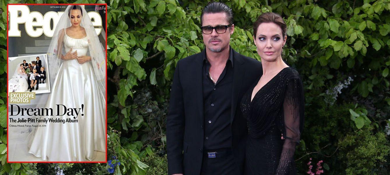 Foto: Brad Pitt y Angelina en una fotografía de archivo. En el recuadro, la portada de la revista 'People'