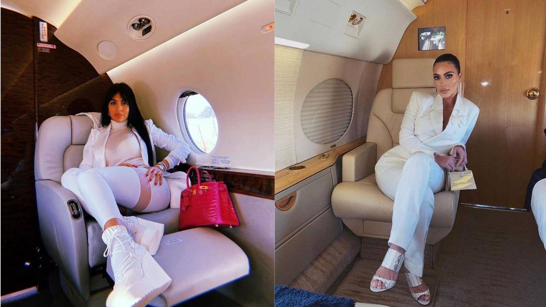Georgina Rodríguez y Kim Kardashian,  viajando en sus aviones privados. (Instagram)