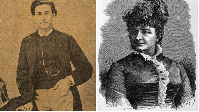 Dos imágenes de juventud de Benito Pérez Galdós y Emilia Pardo Bazán. (Casa-Museo de Benito Pérez Galdós / Archivo de la RALG)