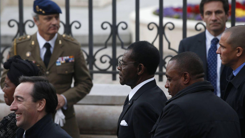 Teodoro Obiang, presidente de Guinea Ecuatorial, durante el funeral por Adolfo Suárez, en Madrid. (Reuters)