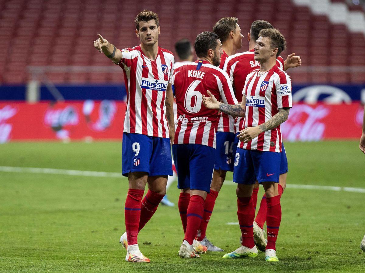 Foto: Álvaro Morata celebra su segundo gol en el Wanda Metropolitano.