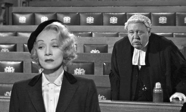 Marlene Dietrich y Charles Laughton, en 'Testigo de cargo'. (MGM)