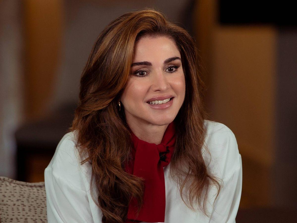 Foto: La reina Rania de Jordania, en una videoconferencia. (Cordon Press)