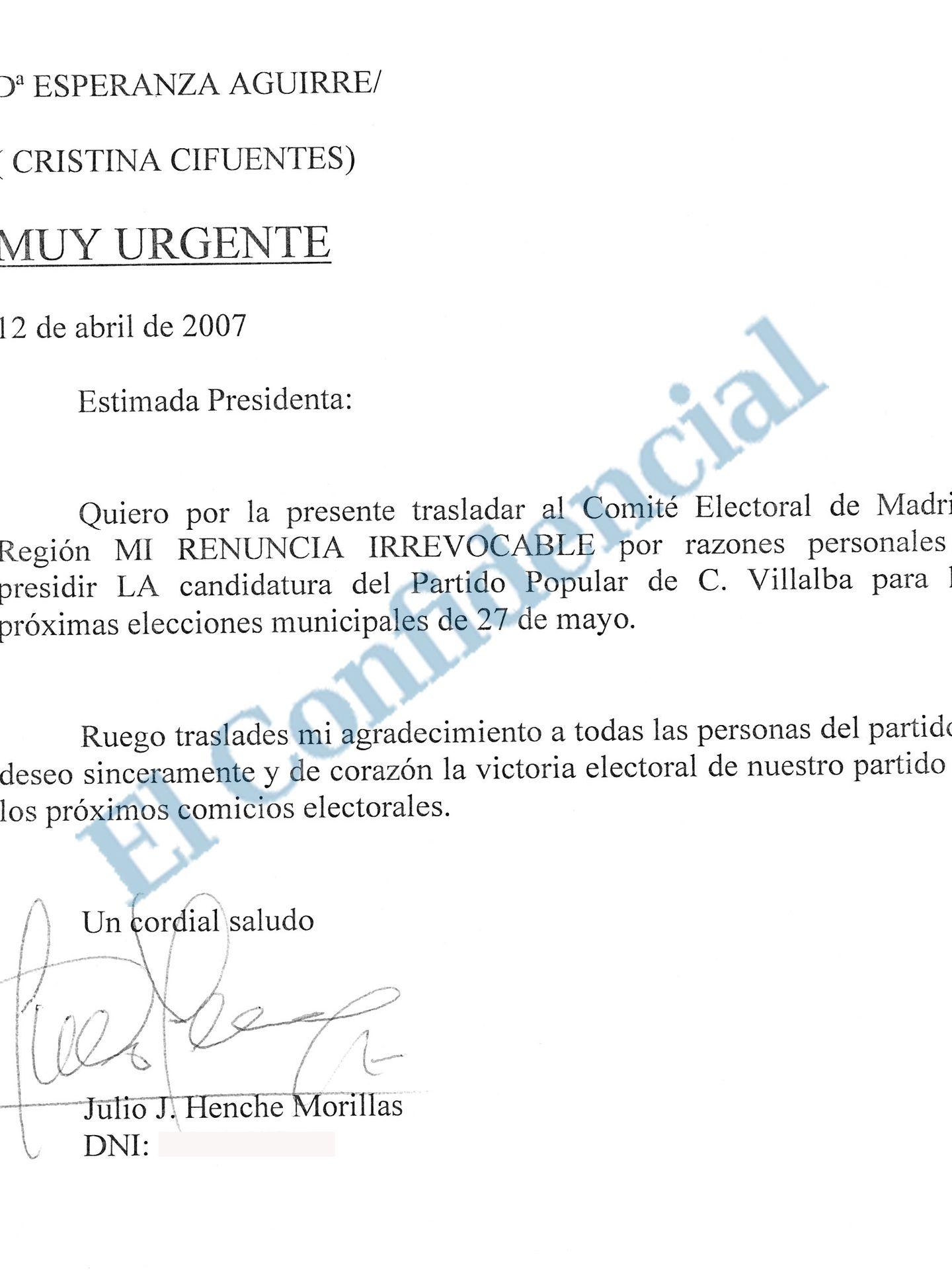 Pinche aquí para ver la carta de renuncia de Julio Henche.