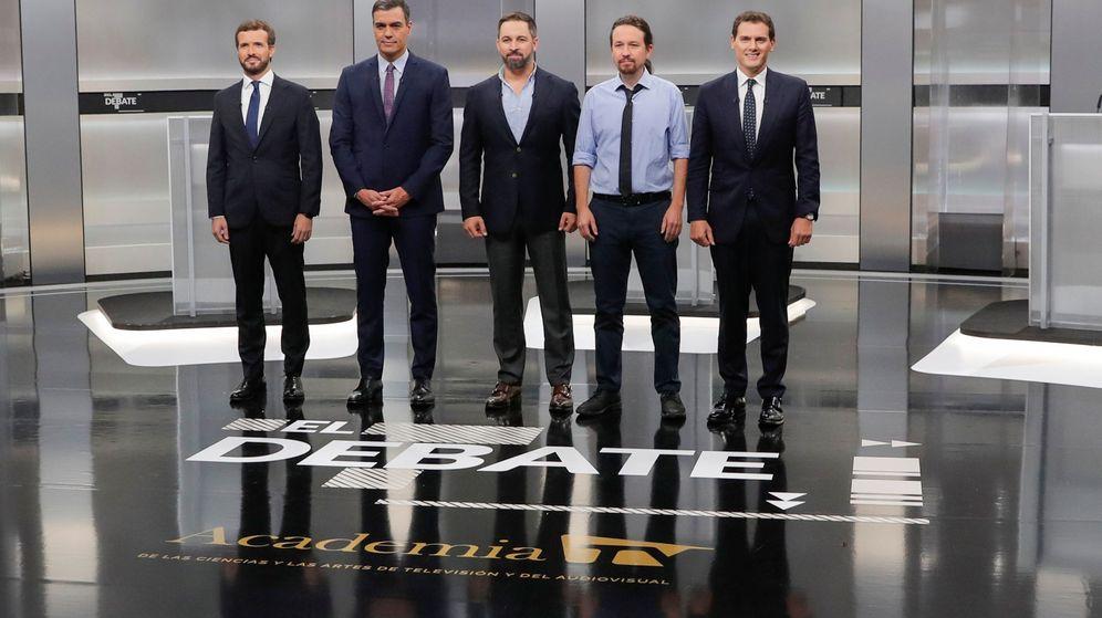 Foto: Los cinco candidatos a la presidencia del Gobierno, en el debate del pasado lunes. (Reuters)