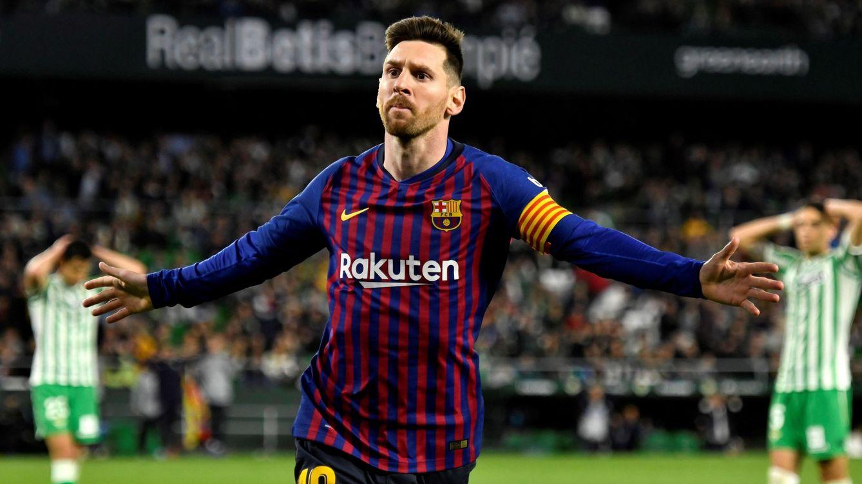 Foto: Messi celebrando un gol, este domingo, en Sevilla. (EFE)