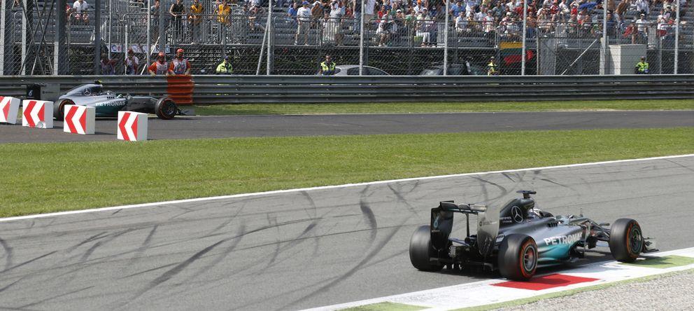 Sin regalos: fue Hamilton quien le rompió la cintura a  Rosberg en Monza