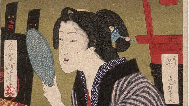 'Geisha ennegreciéndose los dientes a la 1 de la madrugada' de  Tsukioka Yoshitoshi