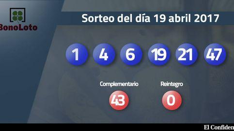 Resultados de la Bonoloto del 19 abril 2017: números 1, 4, 6, 19, 21, 47