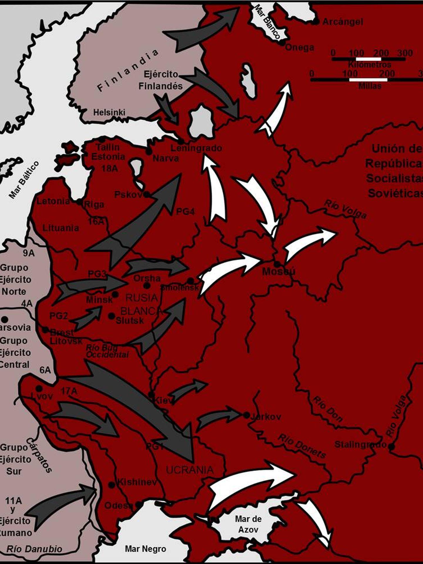 Mapa de la Operación Barbarroja