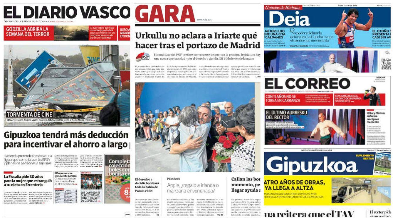 En imágenes: así informa la prensa vasca sobre las elecciones a lendakari del 25-S