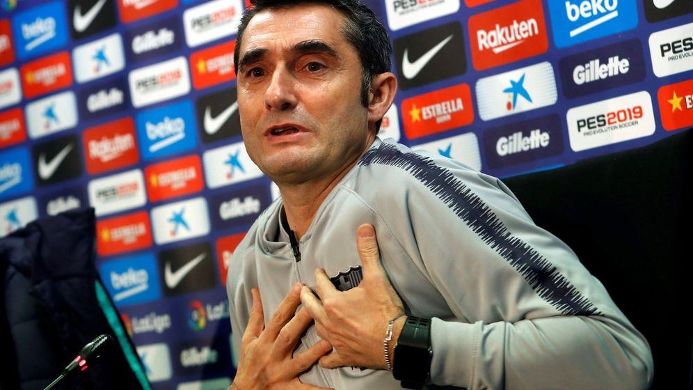 Foto: Ernesto Valverde durante una conferencia de prensa. (Efe)