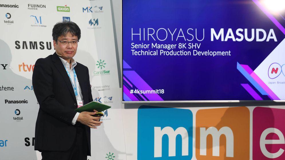 Foto: Hiroyasu Masuda, senior manager del departamento 8K de la NHK japonesa, en su intervención en la Summit 4K de Málaga.