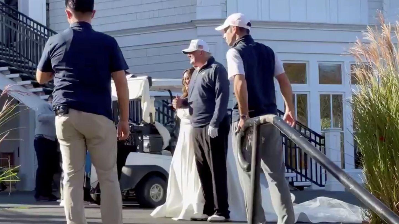 El presidente Trump este sábado en el club de golf. (Reuters)