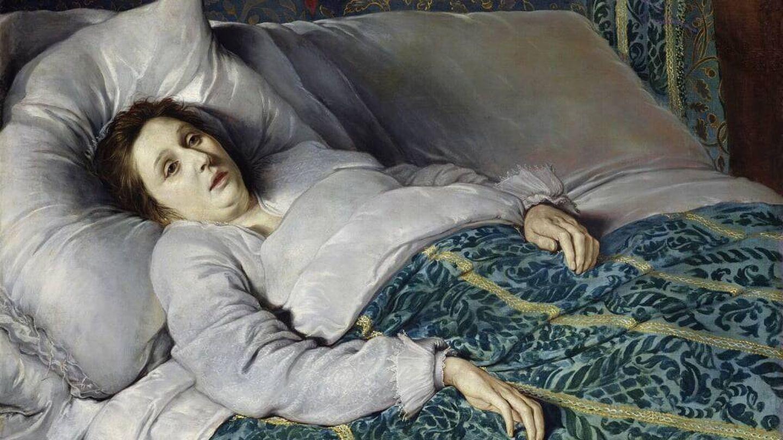 Mujer joven en su lecho de muerte (Flemish School, 1621)