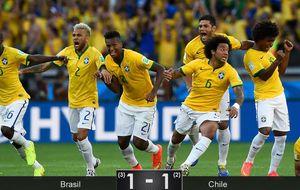 Sólo los penaltis justifican la grandeza de Brasil ante una Chile que roza la sorpresa